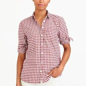 NWT J. Crew Gingham Plaid Flannel Button Down